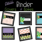 Succulents and Cactus Teacher *Editable Binder Covers *