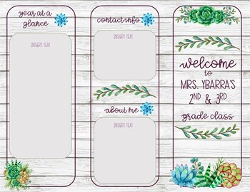 Succulents and Shiplap *Editable* Back to School Parent Pamphlet