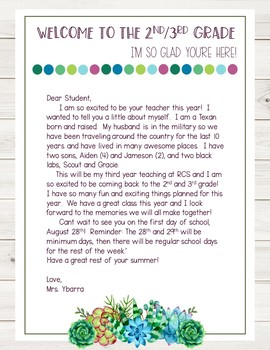 Succulents and Shiplap *Editable* Back to School Teacher Letter
