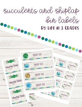 Succulents and Shiplap *Editable* Container Labels