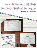 Succulents and Shiplap *Editable* Student Information Cards