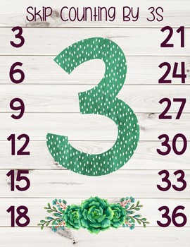 Succulents and Shiplap Skip Counting Posters