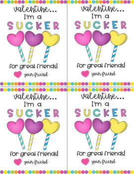 Sucker Valentine's Day Cards
