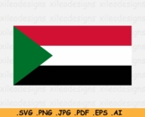 Sudan National Flag, Sudanese Country Banner Cricut Print SVG EPS AI PNG JPG PDF