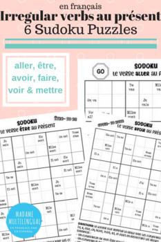 6 French Irregular Present Tense Verbs | Sudoku