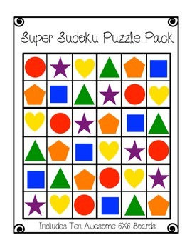 Sudoku #2- Elementary Worksheets and Center 6X6 Puzzles with Shapes