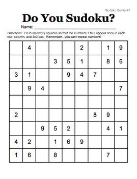 Sudoku Interactive Bulletin Board - Editable!