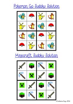 Sudoku: Modern, 4 x 4 simple sudoku patterns with popular themes