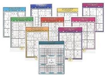 Sudoku Puzzle A4 Set of 9