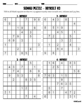 Sudoku Puzzle Difficult 02