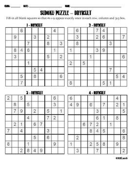 Sudoku Puzzle - Difficult