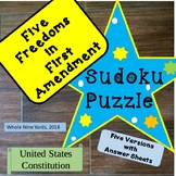 Sudoku Puzzle-Five Freedoms in First Amendment-Constitutio