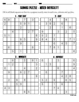 Sudoku Puzzle - Mixed Difficulty
