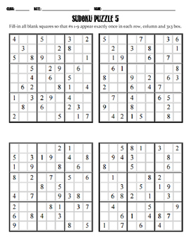 Sudoku Puzzle - Mixed Difficulty 5