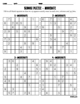 Sudoku Puzzle - Moderate