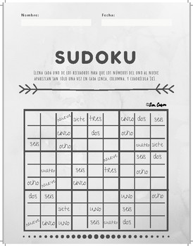 Sudoku Puzzle- Numbers 1-9 Spanish