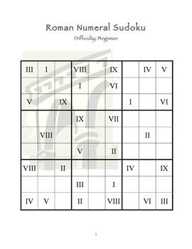 Sudoku Puzzles using Roman Numeral (Beginner)