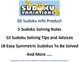 02 Sudoku Info Product: Rules, Tips and Advices to Solve a