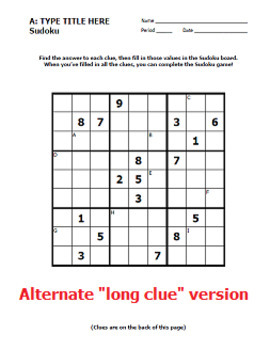 Sudoku Template - Design Your Own Review Worksheet