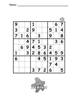 Sudoku Puzzle Worksheet Bundle