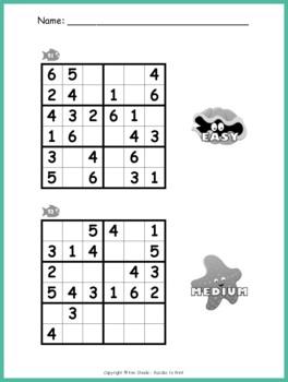 Easy Sudoku Puzzle Worksheet Pack