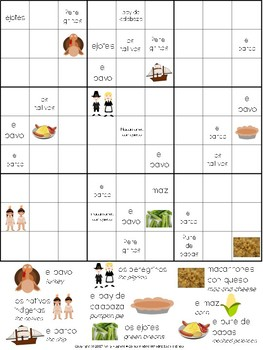 Sudoku de palabras: Día de Acción de Gracias