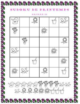 Sudoku de printemps -centres, travail quotidien, résolution de problèmes
