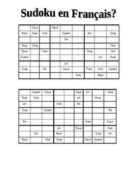 Sudoku en français  Numbers 1-9
