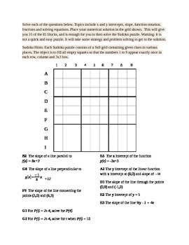 Sudoku puzzle for linear functions, slope and intercepts