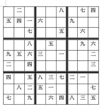 Sudoku with numbers in Chinese characters
