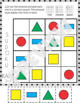 2D Shape Sudoku Cut and Paste Activity