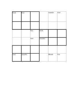 Sudoku with the colors in Spanish