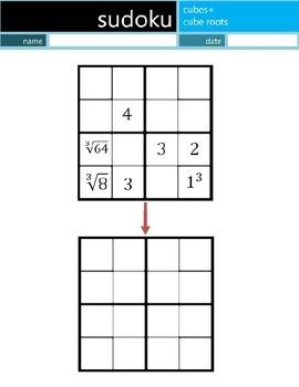 Math Sudoku Level 5: Cubes+Cube Roots [Common Core (CC) Su