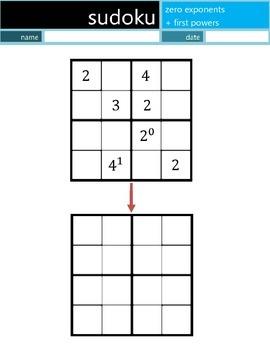 Math Sudoku Level 6: Zero+One (0 and 1) Exponents[Common Core (CC) Supplemen