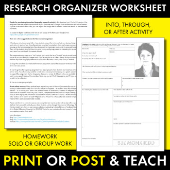 Sue Monk Kidd Author Study Worksheet, Easy Biography Activity, CCSS