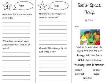 Sue's Space Rock Trifold - 3rd Grade Literacy by Design Theme 11