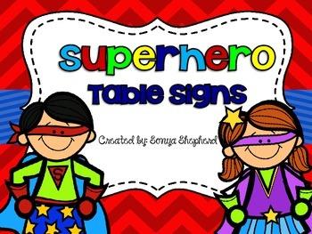 Suerhero Table Signs