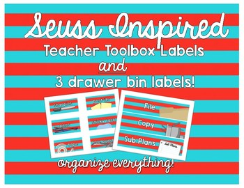 Suess Inspired Teacher Toolbox and Bin Labels