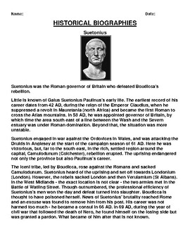 Suetonius  Biography Article and (3) Assignments