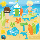 Sufer boys clipart commercial use, graphics, digital clip art, surfing - CL903