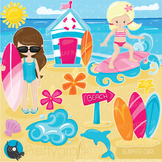 Sufer girls clipart commercial use, graphics, digital clip art, surfing - CL902