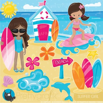 Sufer girls clipart commercial use, graphics, digital clip art, surfing - CL918