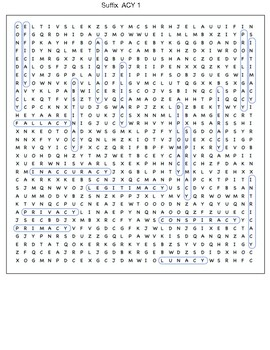 Suffix ACY word search