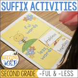 Suffix Activities: -ful and -less Poem, Printables, and Center Matching Activity