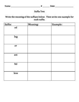Suffix Assessment
