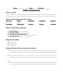 Suffix Assessment Printable!