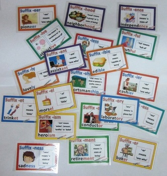 Suffix Cards with Definitions Illustrations and Examples