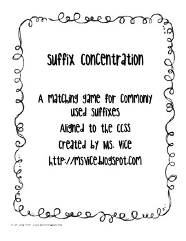Suffix Concentration, CCSS aligned!