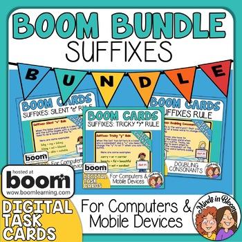 Suffix Digital Task Card Bundle: 3 Boom Card Decks!