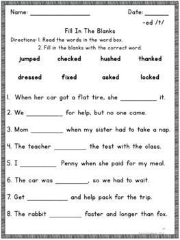 Suffix ED Phonics and Spelling Practice